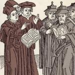 ヨハン・フォン・アルムスハイムによる1483年の木版画。キリスト教とユダヤ教の神学者たちの論争を描いている