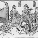 『事物の諸属性について』の15盛期の写本の挿絵。著者バルトロメウスの人生が並存的に描かれている。